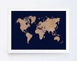 Vintage Beig World Map With Navy Background Earthy Decor Wall Art Travel Poster Rustic Blue INSTANT DOWNLOAD