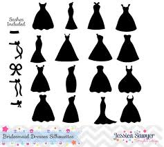 bridesmaid dress silhouette clipart