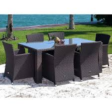 Courtyard Creations Patio Table by Driscol Glass Top Taupe Rectangle Patio Dining Table Mainstays