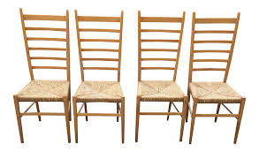 Tall Ladder Back Chairs With Rush Seats by Italian Gio Ponti Ladder Back Rush Seat Chairs Set Of 4 Chairish