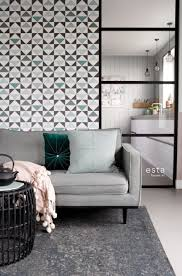 wohnzimmer tapete grafische dreiecke weiß schwarz mintgrün und see 139096