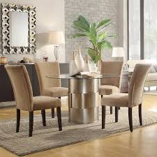 cliburn 5 dining set in light brown upholstery