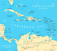 Caribbean Political Map With Capitals National Borders Important Cities Rivers And Lakes English Labeling