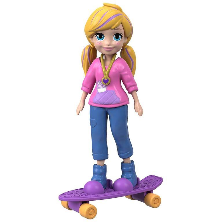 Polly Pocket Active Pose Skate Rockin' Adventure Polly Doll with Skateboard