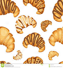 Seamless Pattern Of Croissant With Different Fillings Cream