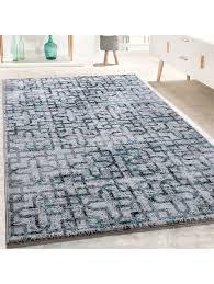 paco home designer teppich wohnzimmer modern kreuz muster in grau schwarz türkis klingel