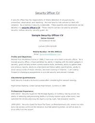 Security Guard Resume Objective Military Template Sample