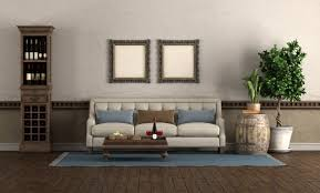 wohnzimmer im retro stil mit sofa und weinschrank premium foto
