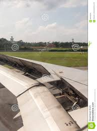 100 Parts Of A Plane Wing Irplane During Landing Stock Photo Image Of Metal
