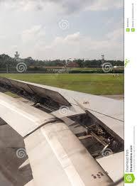 100 Airplane Wing Parts During Landing Stock Photo Image Of Metal