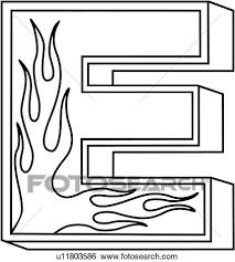 Clip Art of alphabet capital e flaming block hand lettered