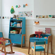 chambre d enfant vintage bibliothèque vintage bleue pour enfant vintage étagères de