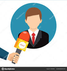 Live Report News Concept Vector Illustration Businessman Gives A Reporter Interview Press Conference By Prejudicejugmail