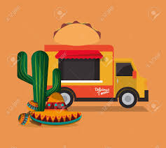 100 Mexican Food Truck Taco With Culture Related Icons Image Vector