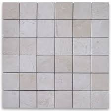 crema marfil 2x2 square mosaic tile polished marble from spain