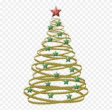Transparent Gold Christmas Tree With Green Stars Png