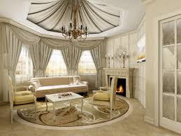Elegant White Contemporary Living Room Furniture Sofa Combined With Antiwue Cahndelier And Classic Fireplace Create An Awesome