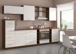 küche trend 290cm küchenzeile küchenblock variabel stellbar in hochglanz weiss nussbaum