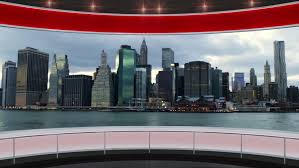 Hd0010HDTV News Virtual Studio Green Screen Background Red Cityscape
