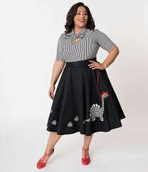 Unique Vintage Plus Size A Girl Her Dinosaur Irving Swing Skirt