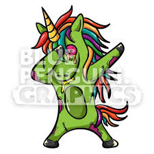 Unicorn Zombie Dabbing Vector Cartoon Clipart Illustration