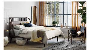 jarvis brown leather queen bed cb2