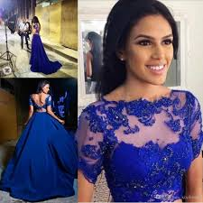 cheap 2017 royal blue two pieces backless prom dresses crew neck