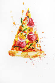 ORIGINAL Watercolor Painting Pizza Watercolor Food Painting Kitchen art Italy Food