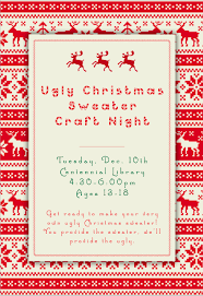 Ugly Christmas Sweater Craft Night for teens at the library This