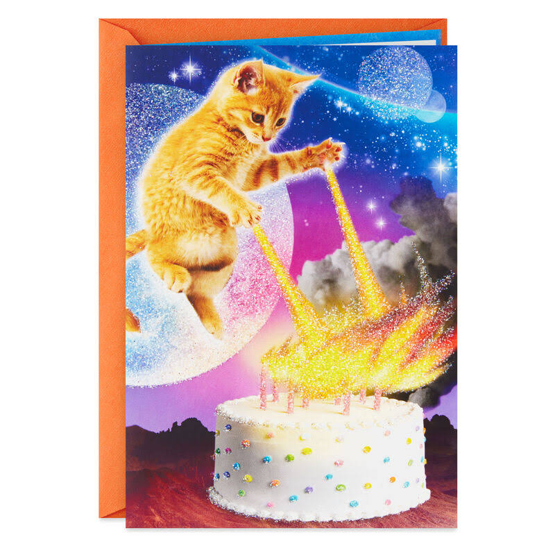 Cake's on Fire Funny Birthday Card