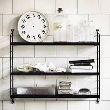 etagere murale metal cuisine etagère avec 3 plateaux en métal pocket string furniture noir