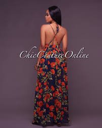 chic couture online beth floral navy blue maxi dress front slit