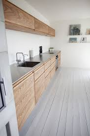 Love The Wooden Cabinets Stainless Steel Work Surfaces And Grey Painted Floorboards In This Kitchen Home Decor Interior Decorating Ideas
