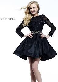 sherri hill 21215 little black short cocktail dress with long