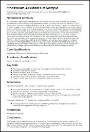 Sample Of Qualifications In Resume Stockroom Assistant With Summary Format