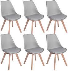 eggree 6er set esszimmerstühle mit massivholz buche bein retro design gepolsterter stuhl küchenstuhl holz grau
