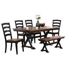 Cambridge 6 Piece Black Dining Set With Bench