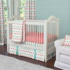 amazon com carousel designs coral and teal arrow 3 piece crib