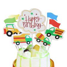 100 Construction Trucks Themed Happy Birthday Cake Toppers 9pcs