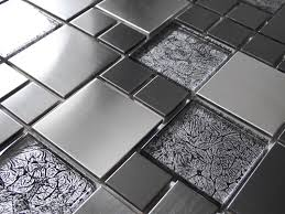 foil glass brushed steel metal silver grey mosaic wall tiles