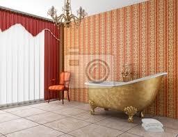 klassische badezimmer mit badewanne und alte rot gestreiften poster myloview