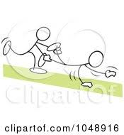 Royalty Free RF Clip Art Illustration Sticklers In A Wheel Barrow Race Over Green