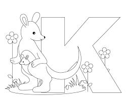 Coloring Pages Printable Letter G V H Animal Alphabet Kangaroo For Kids