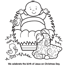 Jesus Manger Coloring Page Pixels Christmas Pages