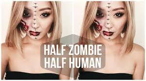 Halloween Half Mask Makeup by Half Zombie Half Human Halloween Tutorial Youtube
