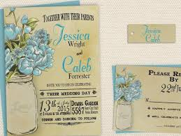 Rustic Mason Jar Wedding Invitation Spring Country Printable Invite Blue