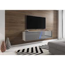 space tv lowboard in grau hochglanz lack und weiß hängend stehend board mit led rgb beleuchtung 160 cm