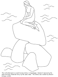 Denmark Little Mermaid Countries Coloring Pages