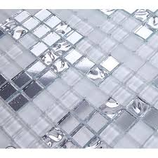 silver and mirrored glass mosaic tile murals frosted