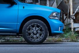 100 33 Inch Truck Tires Blue Chrome Wrapped Ram On Fuel Maverick Wheels And